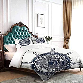 dsdsgog Simple and Comfortable Adventure,Sea Compass and Storm Tattoo Design in Celtic Style Tsunami Waves and Wheel,Dark Blue White 80x90 inch Sleepovers with Blanket and Pillow Slumber Bag