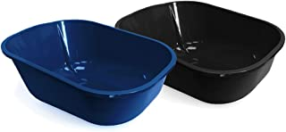 Fresh Kitty Easy to Clean Open Litter Box Pan for Your Pet Cat or Kitten, Navy Blue or Charcoal Gray