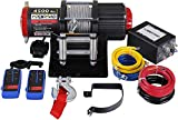 OPENROAD Juego de cabrestante eléctrico de 4500 lb / 2040 kg, cabrestante eléctrico de color negro carbón, cabrestante de 12V ATV con cable más fuerte que el acero