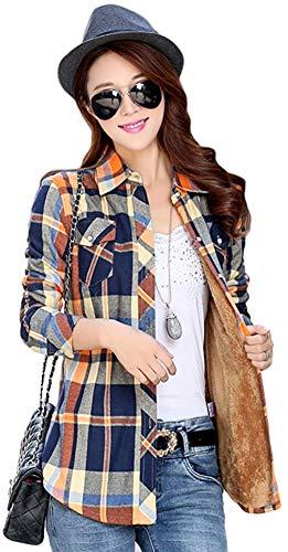 AvaCostume Womens Casual Fleece Winter Plaid Slim Shirt Blouse, 9 - Yellow Blue Navy L