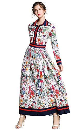 Damen Blumen Maxikleid Bohemien 3/4 Arm A-Linie Elegant Lang Kleider Hemdkleid Partykleid Casual