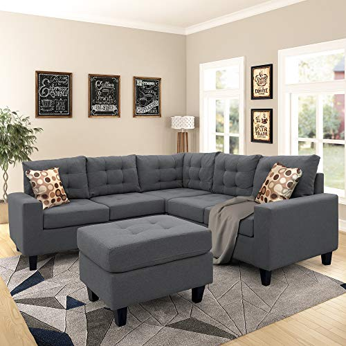 3 Piece Sectional Sofa, L-Shaped Sofa Couch, Living Room Rivet Modern Upholstered Set with Ottoman and Cushions,Gray