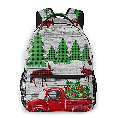 Mochila para portátil de viaje,Navidad rústica de pared de madera de granja,cuadros rojos,camión de renos a cuadros,mochila antirrobo resistente al agua para empresas,delgada y duradera