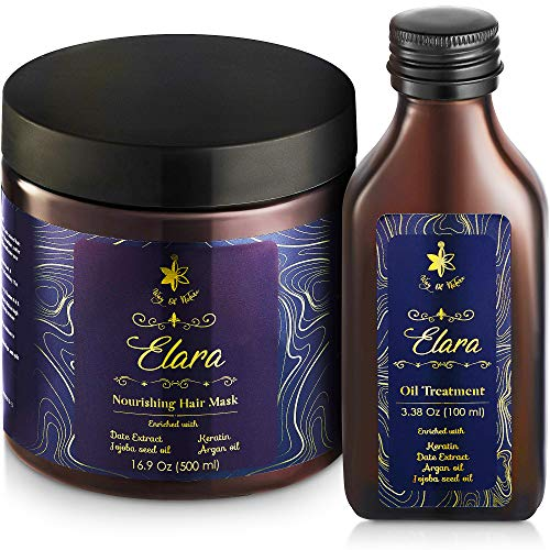 Deep Conditioner Keratin Hair Mask and Oil Set – Hair Treatment for Dry Damaged Hair with Argan Oil Jojoba Oil for Strength, Shine – Sulfate-Free - 100 mL Hair Oil and 500 mL Hydrating Hair Mask
