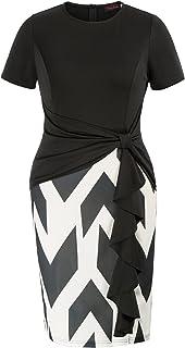 Hanna Nikole Women Plus Size Crew Neck Sleeveless Pockets A-Line Midi Dress with Belt