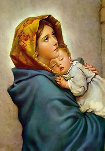 Virgin Mary and Child Jesus POSTER print 12x18 Madonna of the Streets picture Blessed Mother image Holy Mary painting Catholic Christian Religious Holy Wall Art Decor Gift for Home Room Kids Children