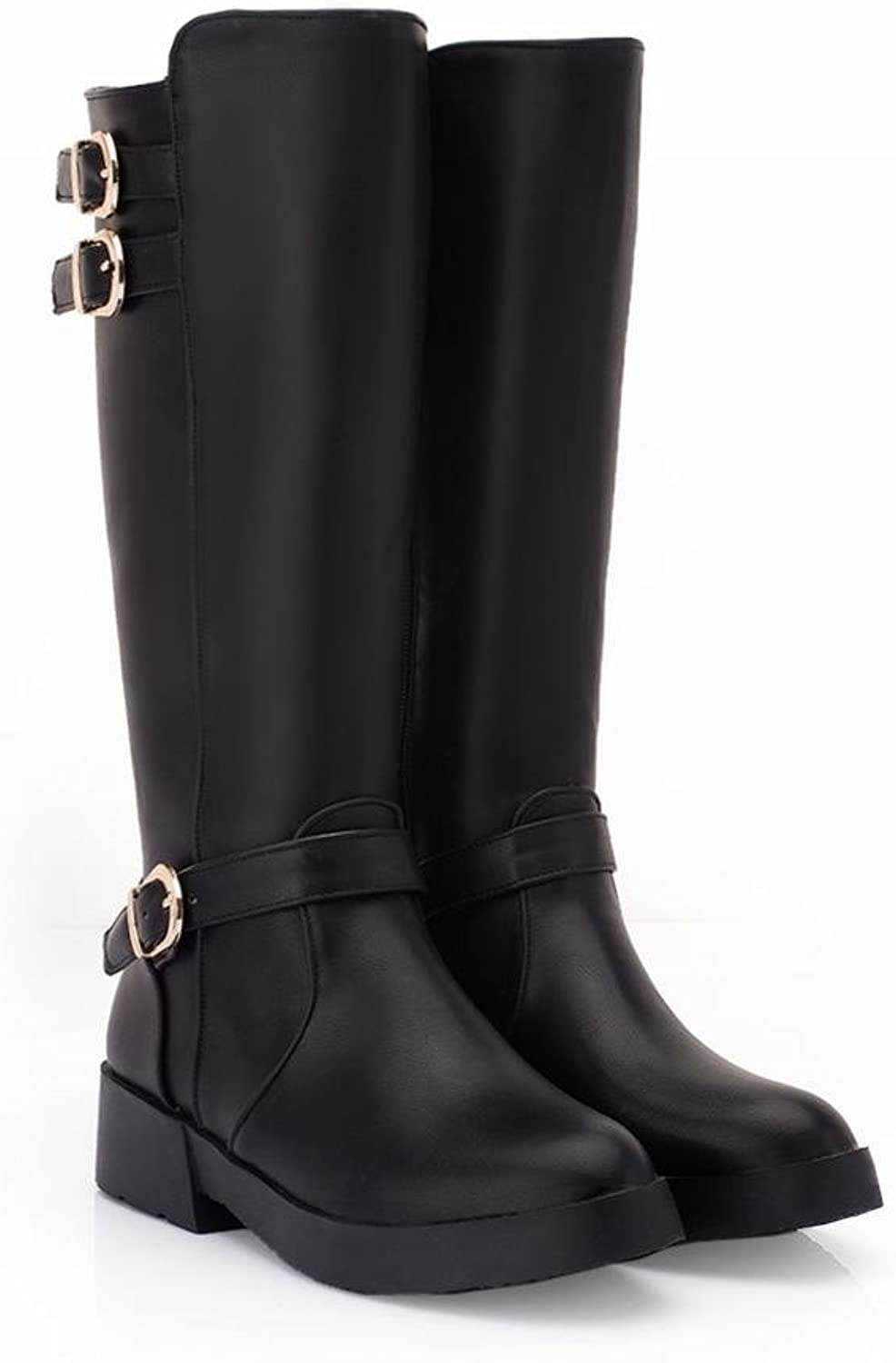 Show Shine Women's Knee High Tall Boots Black
