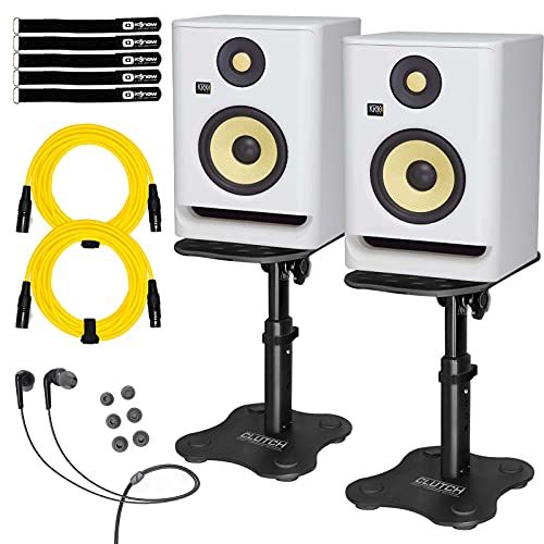 "KRK ROKIT 5 G4 RP5G4 5"" Active Studio Monitor Speakers White w Desktop Stands"
