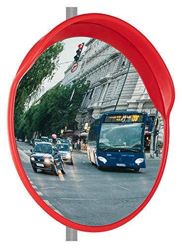 Stagecaptain MC-60 Mirrcon - Specchio convesso con campo visivo a 130°, 2 supporti per montaggio a parete e tubo, per interni ed esterni, colore: Rosso