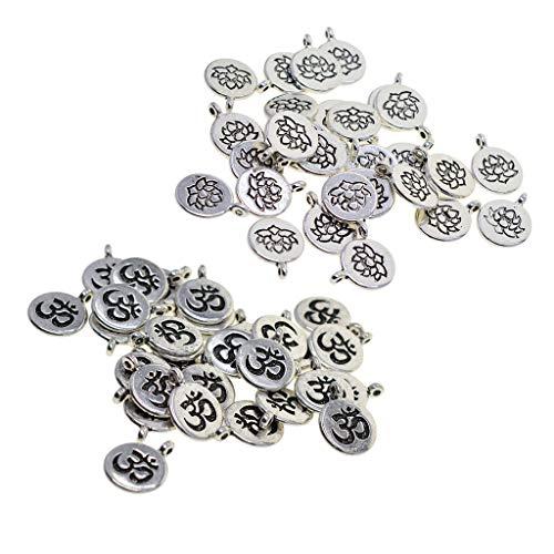 60 Pieces Tibetan Silver Filigree Yoga Lotus Flower Charms DIY Om Yoga Charms for Jewelry Making