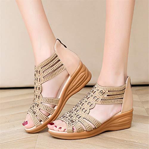 Sandalias de mujer de LBCD, de cristal, con cuña, con tacón, ideal como regalo, para verano, sencillez, estilo retro, con cremallera, color beige, 40