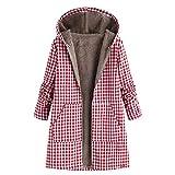 OverDose mujer OverdoseLarge con capucha de manga larga Abrigos postales de la vendimia de lana gruesa 5Xl exterior Coats Wear