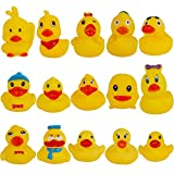 Cllayees Set of 15 Duck Bath Toy Rubber Duckies, 2 Inches Bathtub Duck Set Squeak Rubber Floating Duck Baby Shower Bath Tub Pool Toys