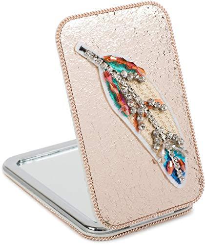 styleBREAKER Miroir de poche rectangulaire avec une plume brodée de strass, des perles et une chaîne, grossissant 1x/3x, miroir compact de poche, pliant 2 faces 05070007, couleur:Doré rose métallisé
