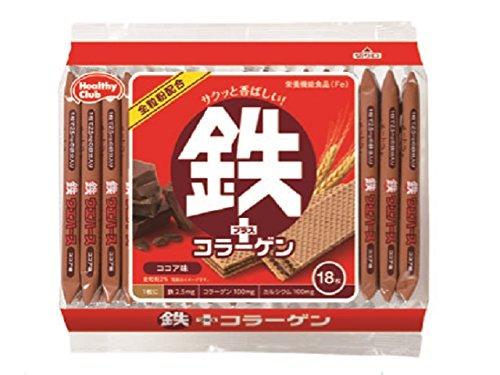ハマダコンフェクト 鉄プラスコラーゲンウエハース 18枚入り×10袋