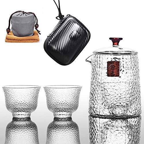 tetera de cristal tetera Juego de té pequeño de tetera de vidrio 400 ml bolsa de almacenamiento de regalo portátil de vidrio de tetera de burbuja resistente al calor