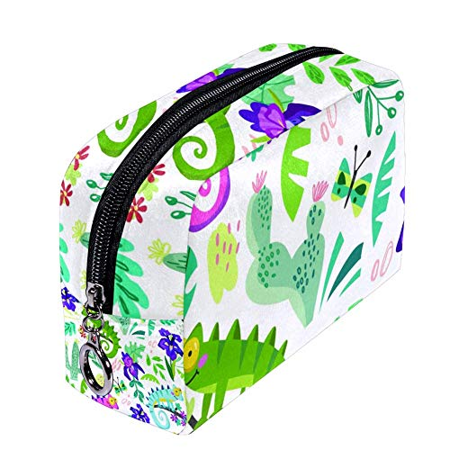 Shiiny Caméléon et plantes tropicales Trousse de maquillage pour femme Petite trousse de maquillage Sac de voyage Sac de toilette étanche Multifonction Portable