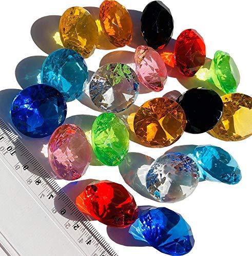 CRYSTAL KING 18 Stück 30mm große Bunte Deko-Diamanten Brillianten Acryl-Steine bunt Gltzersteine Schmuck-Steine Strass-Steine Streu-Deko Tisch-Deko