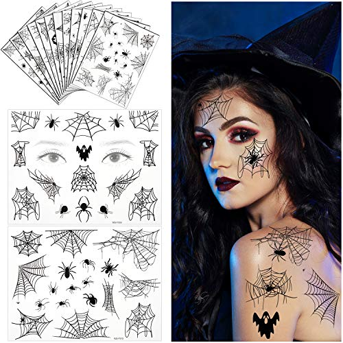 94 Pieces Halloween Spider Face Tattoos Stickers Spider Webs Temporary Tattoos Shoulder Arm Back Body Art Tattoos Sticker for Women Girls Witch Halloween Costume Cosplay Theme Party Favors(12 Sheets)