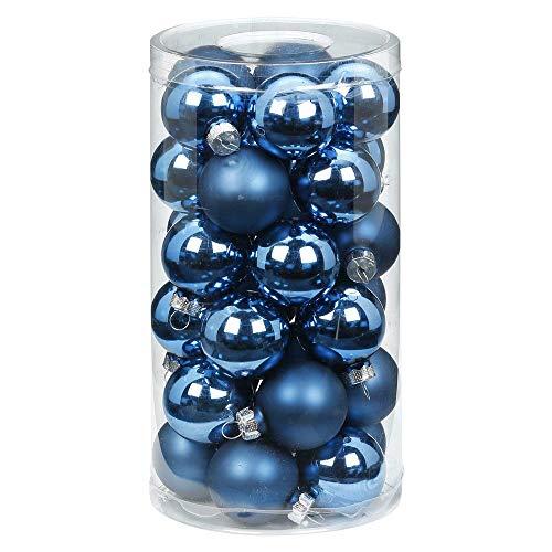 MAGIC Weihnachtskugeln Glas 4cm, 30 Stück Christbaumkugeln Deko Weihnachten Farbe: Calm Blue (blau meerblau himmelblau)