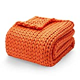 YnM Knitted Weighted Blanket, Hand Made Chunky Knit Weighted Throw Blanket for Sleep, Stress or Home Décor, Rest and Relax in Style with YnM's Handmade Weighted Blankets (Orange, 50''x60'' 10lbs)