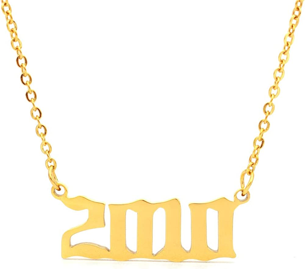 HUTINICE Birth Atlanta Mall Year Number Challenge the lowest price Necklace Old English Pendant Silver