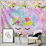 PROCIDA Unicorn Tapestry Pink Floral Sparkling Glitter Unicorn Head Rainbow Flowers Backdrop for Girls Bedroom College Dorm Decor with Nails 80' W x 60' L