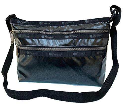 LeSportsac Black Frost Quinn Crossbody Handbag, Style 3352/Color F459, Metallic Iridescent Patent Specialty Material, Matte Sheen