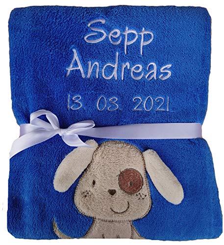 Babydecke viele Farben & Motive mit Namen / Geburtsdatum Bestickt Geschenk Baby (dunkelblau Hund)