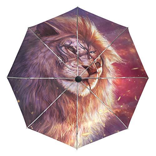 Wamika Regenschirm mit Löwen-Tattoo, automatischer Regenschirm, Winddicht, wasserdicht, UV-Schutz, Reise-Regenschirm – 3 Falten, automatisches Öffnen/Schließen, für Sonnen- und Regenschirme