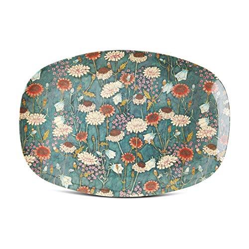 Rice Melamin Servierplatte Tablett Teller mit Herbst Blumen Muster - 30 x 22 cm