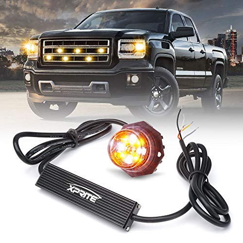 Xprite LED Hideaway Strobe Lights Emergency Hazard Warning Light Bulb Kit for Police Vehicles Trucks Cars White & Amber/Yellow - 1PC