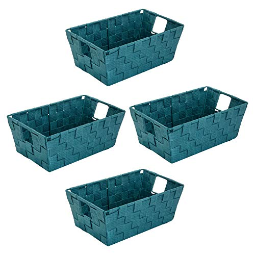 Simplify Tote, Decorative Bin, Good Small Large Items. Closet & Shelf Organizers Woven Storage Basket, 4 Pack, Sapphire