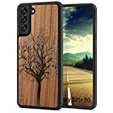 JUBECO S21 / S21 Plus,360 Full-Body Protection, Wood + Flexible TPU Bumper, Slim Hybrid Case for Samsung S21-6.2 inch (Tree-Walnut)