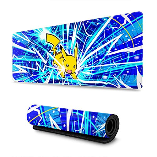 Anime Pokemon Large Gaming Mouse Pad, Pikachu Extended Mousepad, Mouse Mat with Non-Slip Rubber Base, Keyboard Pad with Durable Stitched Edges 11.8in X 31.5in