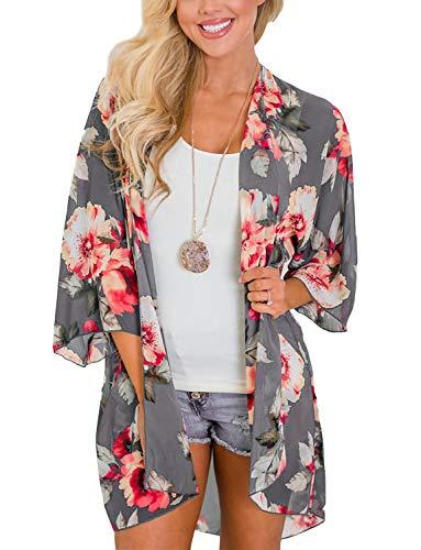 Lightweight Sheer Summer Cardigans for Women Chiffon Floral Boho Beach Kimono Swimsuit Cover Ups Tops Gray XL