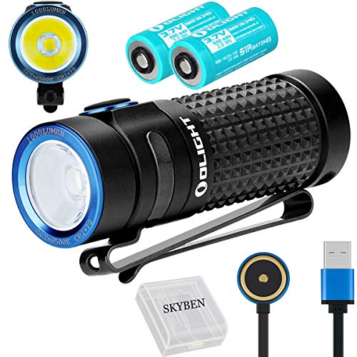 Olight S1R II 1000 Lumens CW LED Single IMR16340 Powered Upgraded Magnetic USB Rechargeable EDC Flashlight with 2 Battery and SKYBEN Battery Case