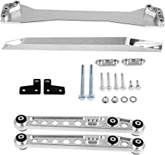 Qiilu Rear Lower Control Arm Subframe Brace Tie Bar Kit Fit for 1996 1997 1998 1999 2000 Honda Civic EK CX DX EX