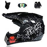 Casco da motocross per bambini, casco da cross per con guanti, occhiali di protezione, maschera, per Downhill Enduro Unisex Adulto Cross-Country Casco (M)