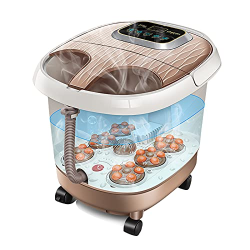 Julitech Automatic Foot Bath Spa Massagers, Adjustable Temperature and Timer, Heat & Bubbles, 36 Massage Rollers Feet Rotating Pedicure Stone for Home,Brown