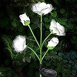 Solarlampen für Außen, Vegena Solar Gartenleuchte Rose Blume Gartenlampe Pfahllichter Straßenlaterne Wasserdicht IP65 Automatische EIN/Aus Solarleuchten für Garten Rasen Balkon Terrasse Gartendeko
