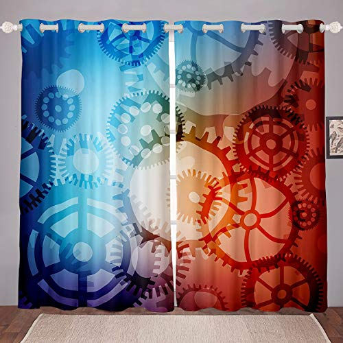 Cortina opaca industrial para reloj de dormitorio, cortina de oscurecimiento para niños, niñas, estilo steampunk, cortina térmica mecánica con rueda de engranajes opacos, W46 x L54