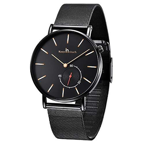 Infinito U-Reloj de Cuarzo Ultra Fino para Hombre Minimalista Moda Relojes de Pulsera para Hombres Vestir Casual Impermeable con Banda Negro/Blanco de Acero Inoxidable