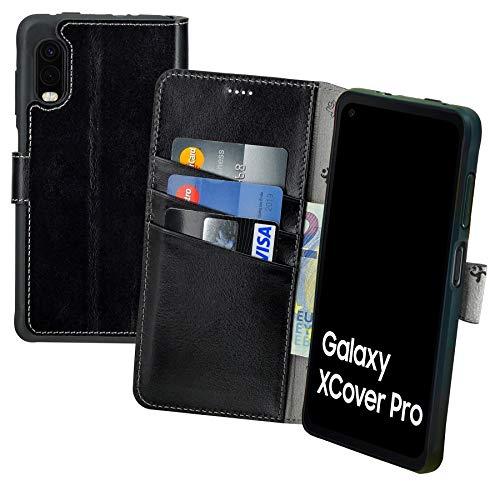 Suncase Book-Style Hülle kompatibel mit Samsung Galaxy Xcover Pro Leder Tasche (Slim-Fit) Lederhülle Handytasche Schutzhülle Hülle mit 3 Kartenfächer in schwarz