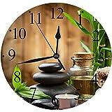 Silencioso Wall Clock Decoración de hogar de Reloj de Redondo,Bamboo Zen Garden...