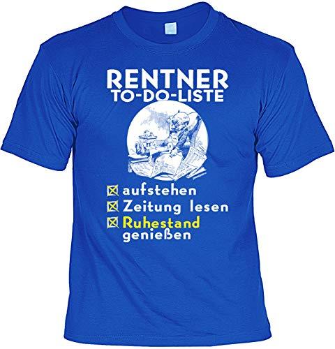 Divertida camiseta de jubilado con frases divertidas – para que lea la lista de cosas en alemán, lea el periódico, disfruta de la jubilación – Camiseta de pensionista. azul real L