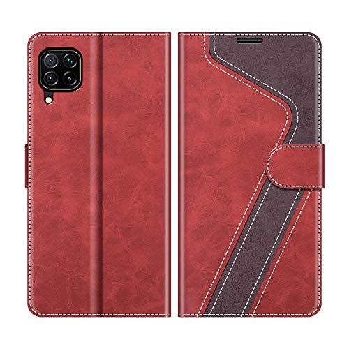 MOBESV Handyhülle für Huawei P40 Lite Hülle Leder, Huawei P40 Lite Klapphülle Handytasche Hülle für Huawei P40 Lite Handy Hüllen, Modisch Rot