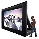 GYUEM 20 ft Inflatable Outdoor Projector Movie Screen - Huge Air-Blown Cinema Projection Screen Package with Rope, Blower + Tent Stakes - Great for Outdoor Party Backyard Pool Fun (20ft)