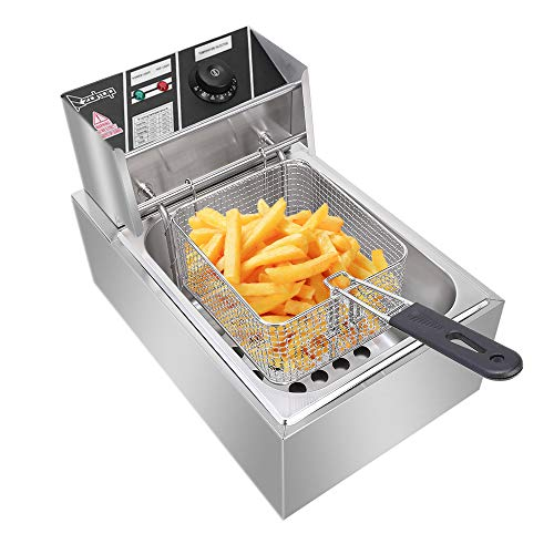 Heavy Duty Deep Fryer Stainless Steel Large Electric Fryers with Removable Basket and Professional Heating Element (6.3QT/6L)
