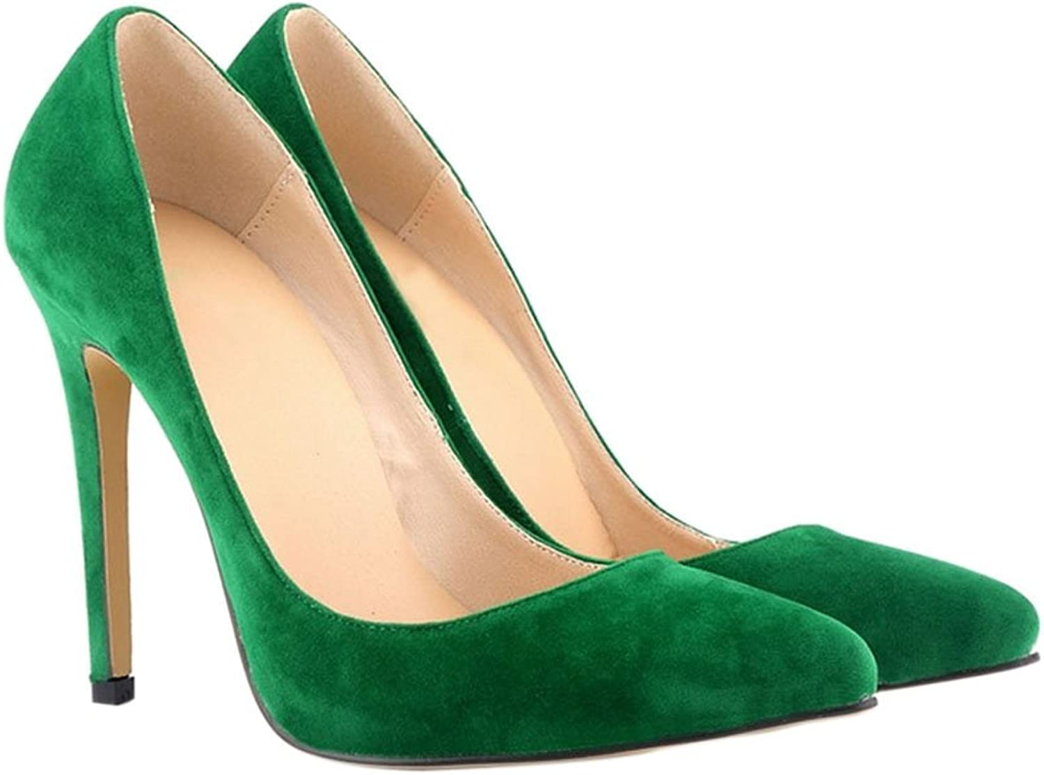 Meijunter Ladies 11CM High Heel Pointed Stiletto Suede Leather Classic Pumps shoes Green